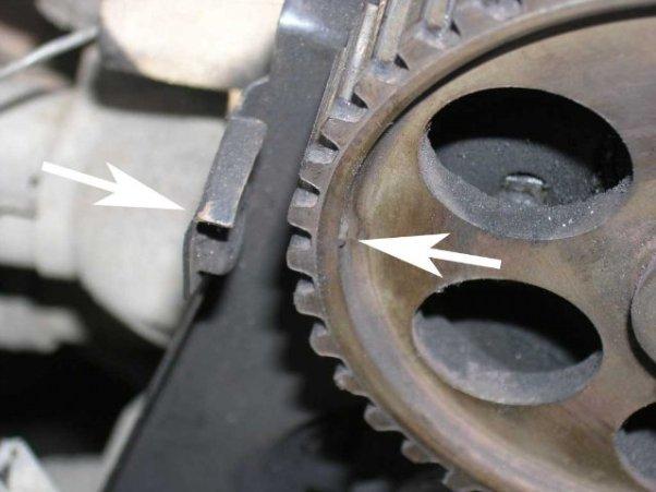 Фото пример метки вала шкива ГРМ